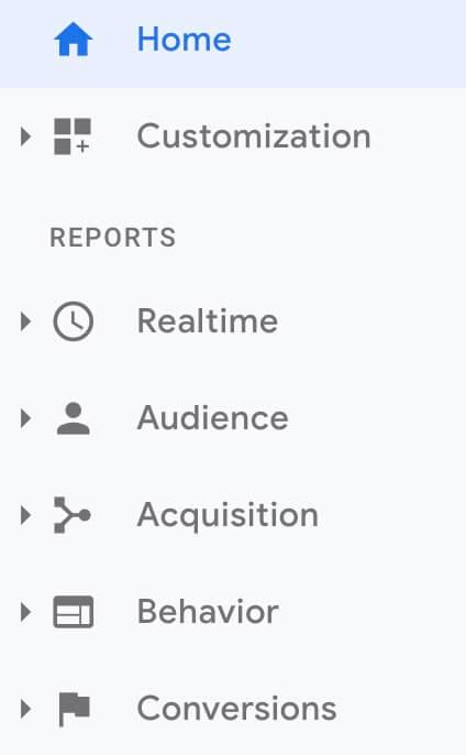 Google Analytics User Menu 2019